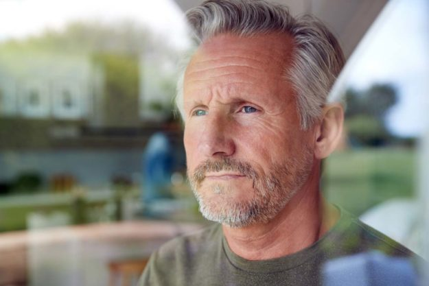 grizzled older man is preparing for rehab mentally